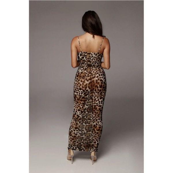 Sexy Leopard Print Snake Skin Dress Women Backless Elegant Bodycon Slim Pencil Dress Plus Size Maxi 5