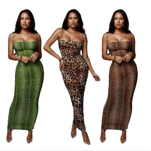 Sexy Leopard Print Snake Skin Dress Women Backless Elegant Bodycon Slim Pencil Dress Plus Size Maxi