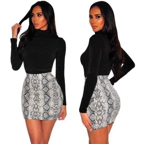 Sexy Women Snake Print Skirt Summer High Waist Mini Skirt Short Pencil Bodycon Femme Slim Package 1