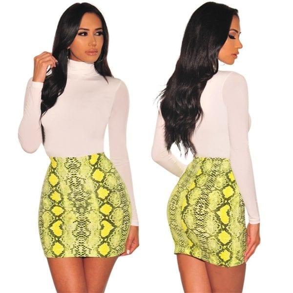 Sexy Women Snake Print Skirt Summer High Waist Mini Skirt Short Pencil Bodycon Femme Slim Package 3