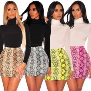 Sexy Women Snake Print Skirt Summer High Waist Mini Skirt Short Pencil Bodycon Femme Slim Package
