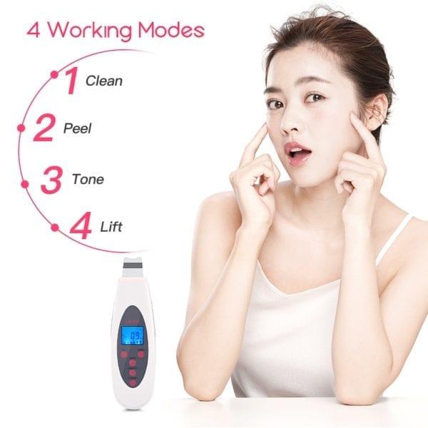 Ultrasonic Skin Scrubber Deep Face Cleaning Machine Remove Dirt Blackhead Peeling Lifting Anti Aging Facial Cleaner 3