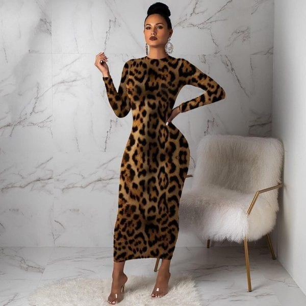Women Leopard Long Sleeve Dress Evening Party Dresses Autumn Winter Bodycon Ankle Length Slim Elegant High 1