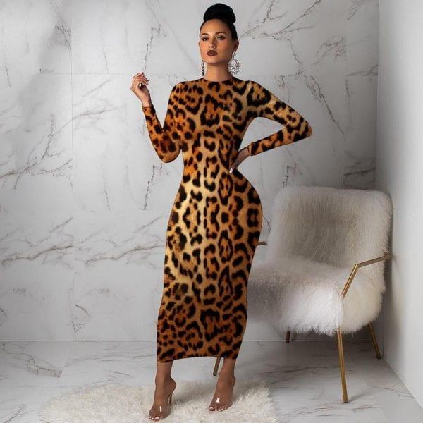 Women Leopard Long Sleeve Dress Evening Party Dresses Autumn Winter Bodycon Ankle Length Slim Elegant High 2