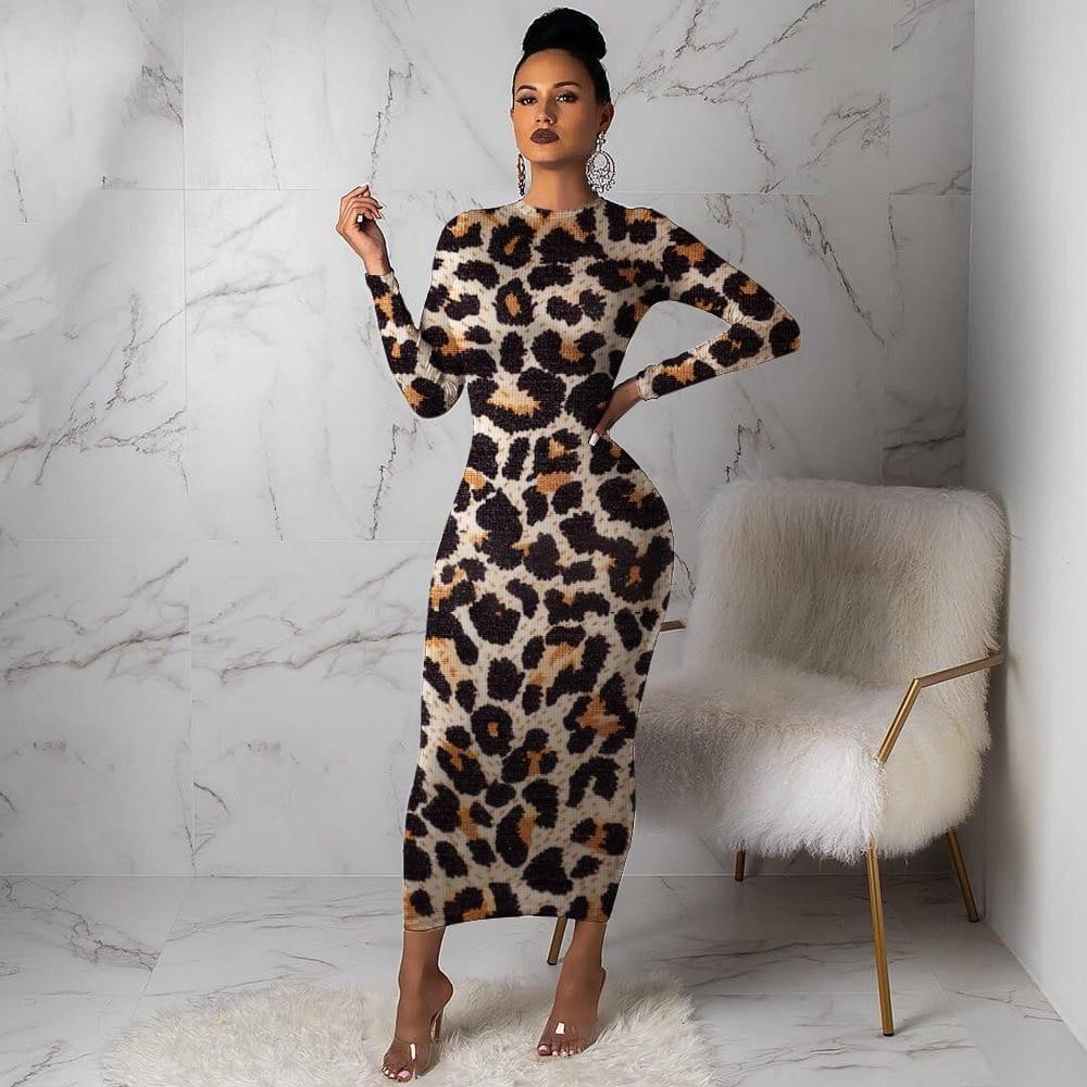 Women Leopard Long Sleeve Dress Evening Party Dresses Autumn Winter Bodycon Ankle Length Slim Elegant High
