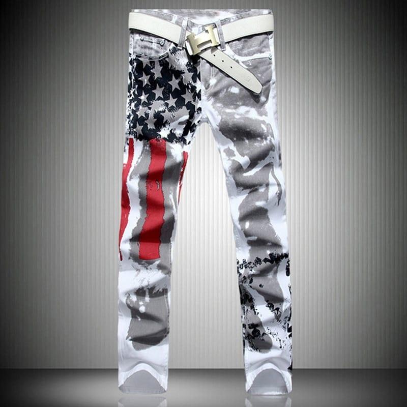 fashion stylish cool mens pants jeans with print graffiti painted denim slim fit white jeans men