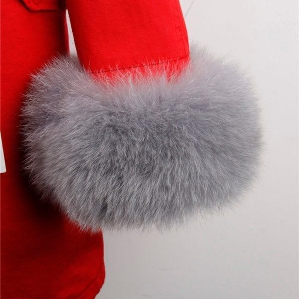 maomaokong 2018 natural real fox fur collar coat women winter jacket outwear parkas 3