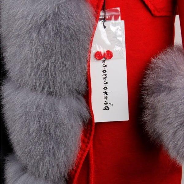 maomaokong 2018 natural real fox fur collar coat women winter jacket outwear parkas 4
