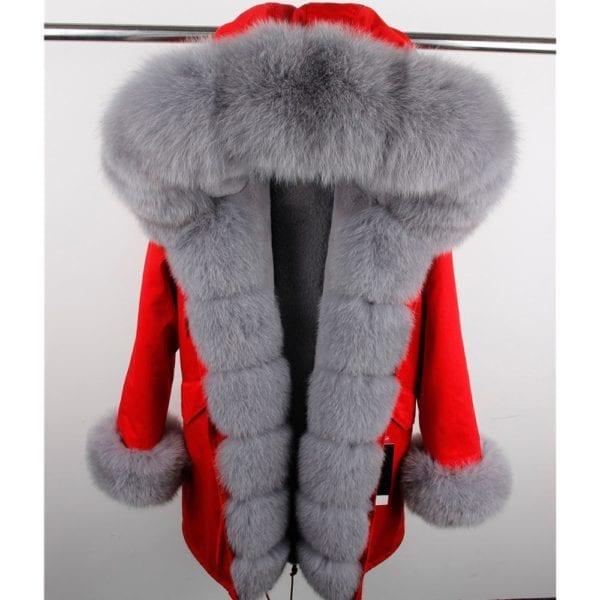 maomaokong 2018 natural real fox fur collar coat women winter jacket outwear parkas