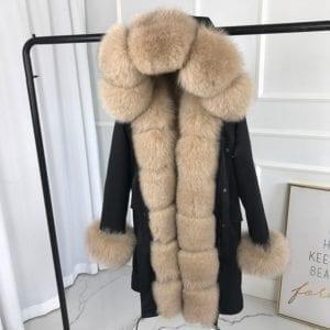 real natural fox fur coat jacket parka with big large fox fur collar and fox fur 6