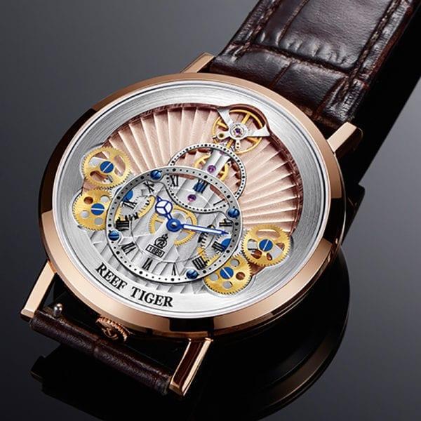 2019 New Reef Tiger RT Luxury Gear Quartz Watches for Men Genuine Leather Strap Skeleton Watches 1