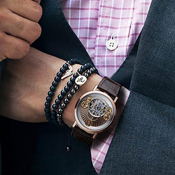 2019 New Reef Tiger RT Luxury Gear Quartz Watches for Men Genuine Leather Strap Skeleton Watches 2