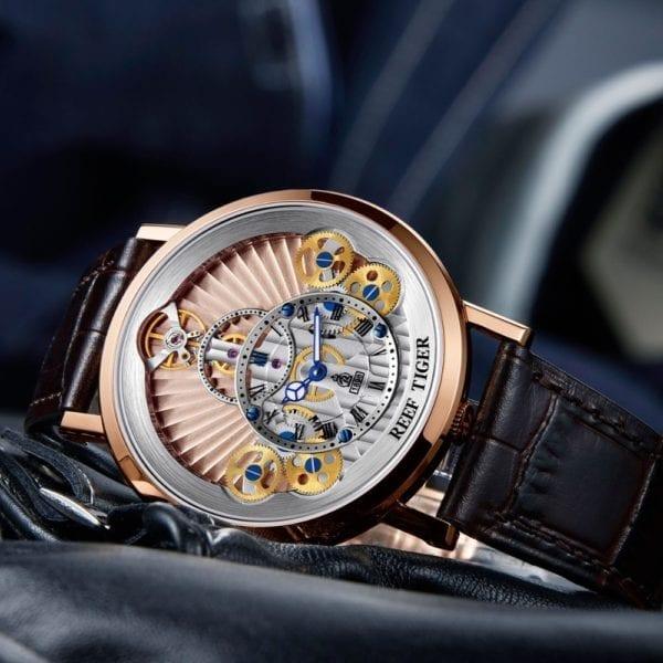 2019 New Reef Tiger RT Luxury Gear Quartz Watches for Men Genuine Leather Strap Skeleton Watches 3