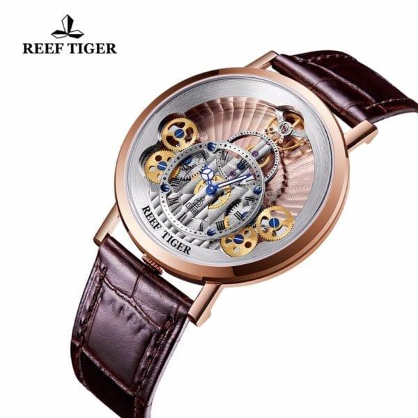2019 New Reef Tiger RT Luxury Gear Quartz Watches for Men Genuine Leather Strap Skeleton Watches 4