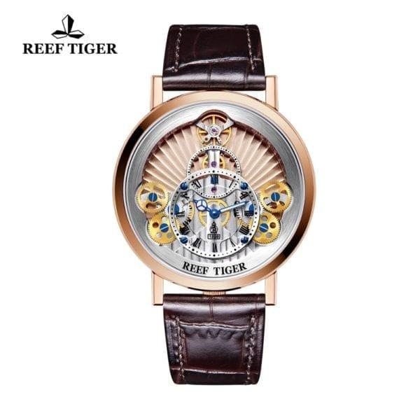 2019 New Reef Tiger RT Luxury Gear Quartz Watches for Men Genuine Leather Strap Skeleton Watches