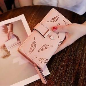 2019 Women Wallet Purse Female Long Wallet Gold Hollow Leaves Pouch Handbag For Women Coin Purse