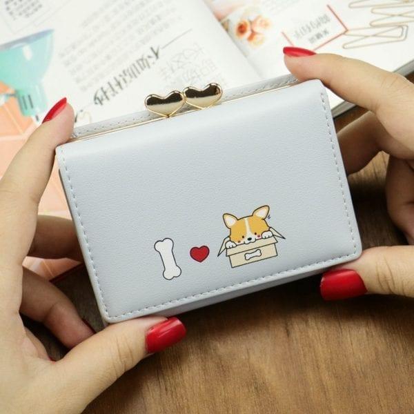 Cartoon Women Wallet Small Cute Corgi Doge Wallets Ladies Short Leather Purses Portefeuille Female Purse Clutch 3