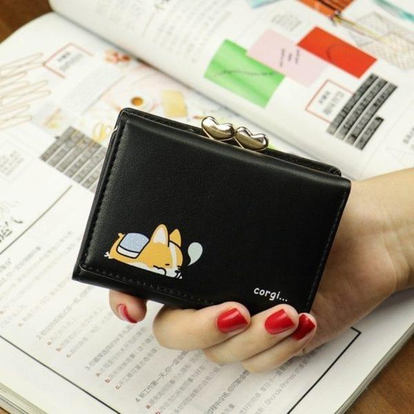 Cartoon Women Wallet Small Cute Corgi Doge Wallets Ladies Short Leather Purses Portefeuille Female Purse Clutch 4