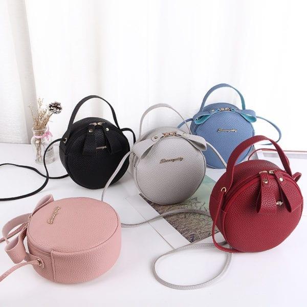 Design Fashion Women Round Bag Leather Women s Circular Crossbody Shoulder Messenger Bags Ladies Purse Female 1
