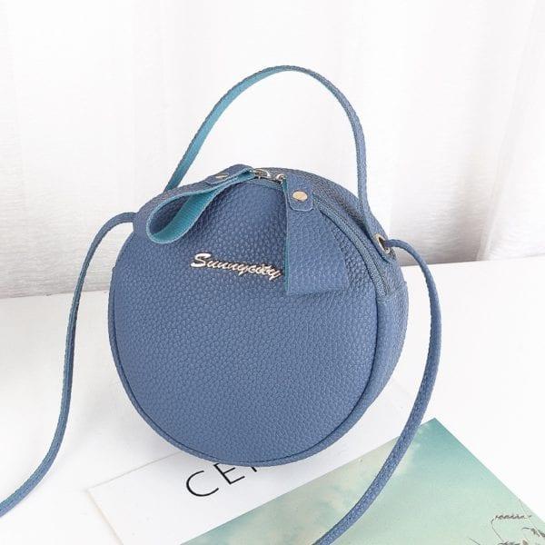 Design Fashion Women Round Bag Leather Women s Circular Crossbody Shoulder Messenger Bags Ladies Purse Female 2