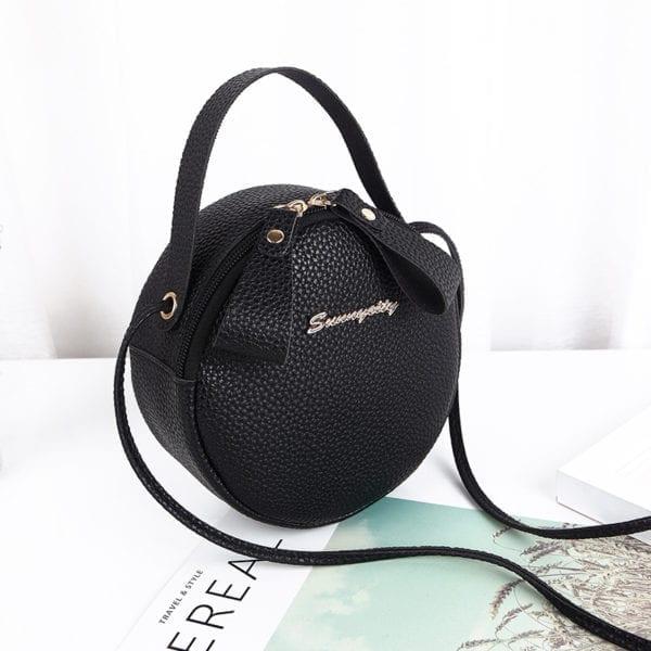 Design Fashion Women Round Bag Leather Women s Circular Crossbody Shoulder Messenger Bags Ladies Purse Female 3