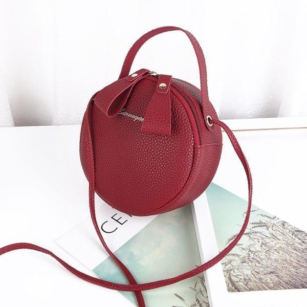Design Fashion Women Round Bag Leather Women s Circular Crossbody Shoulder Messenger Bags Ladies Purse Female