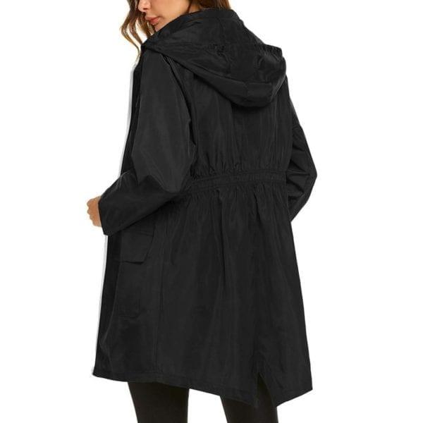 Fashion Ladies Long sleeved Waterproof Suit Outdoor Hooded Raincoat Jacket Coat Solid Color 1