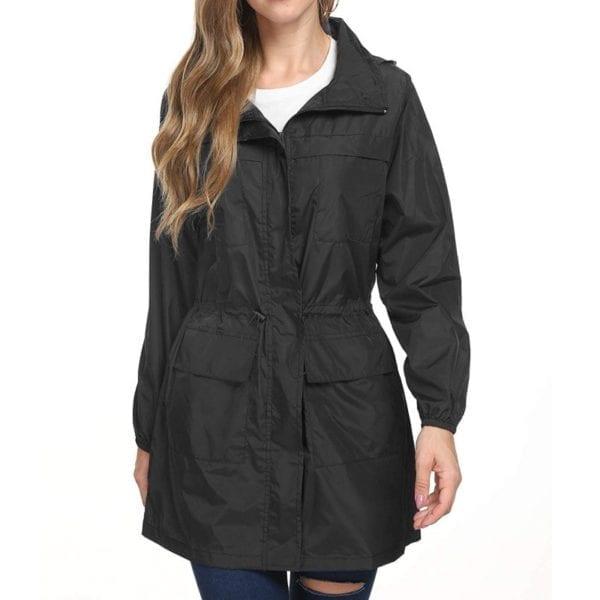 Fashion Ladies Long sleeved Waterproof Suit Outdoor Hooded Raincoat Jacket Coat Solid Color 2