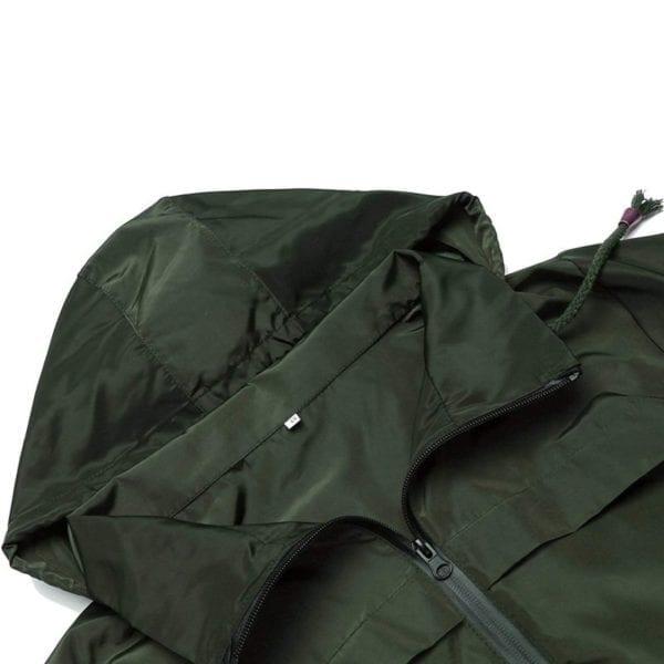 Fashion Ladies Long sleeved Waterproof Suit Outdoor Hooded Raincoat Jacket Coat Solid Color 3