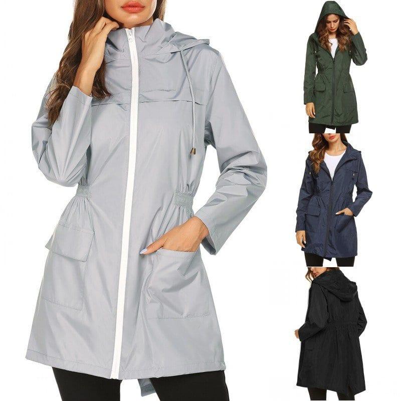Fashion Ladies Long sleeved Waterproof Suit Outdoor Hooded Raincoat Jacket Coat Solid Color