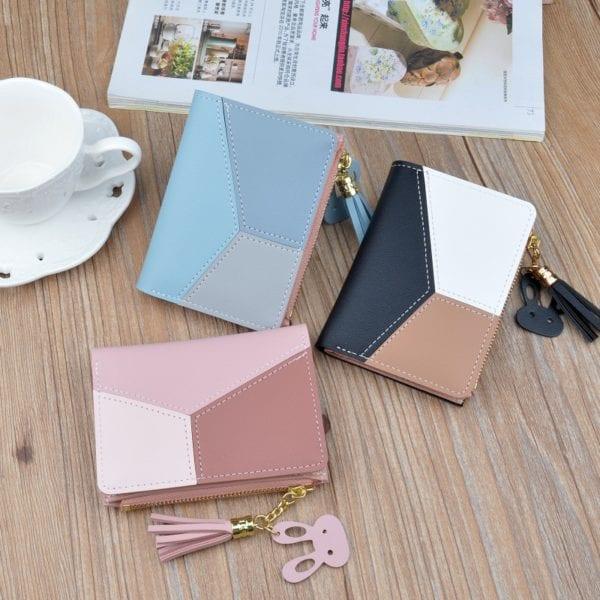 Geometric Women Wallets with Zipper Pink Phone Pocket Purse Card Holder Patchwork Women Long Wallet Lady 10