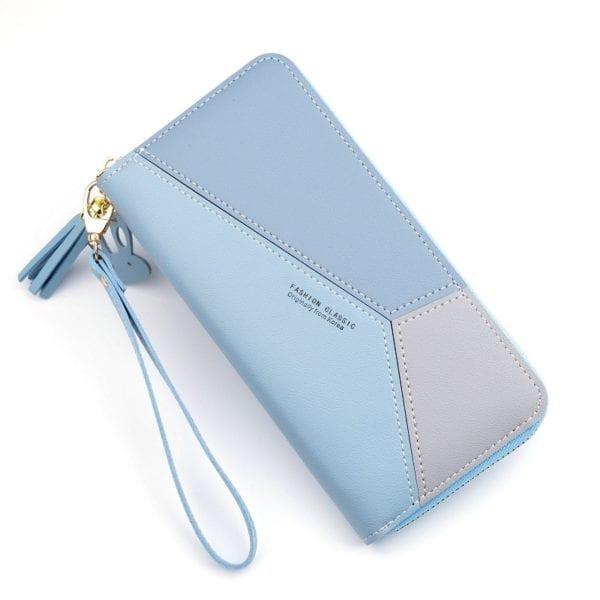 Geometric Women Wallets with Zipper Pink Phone Pocket Purse Card Holder Patchwork Women Long Wallet Lady 3