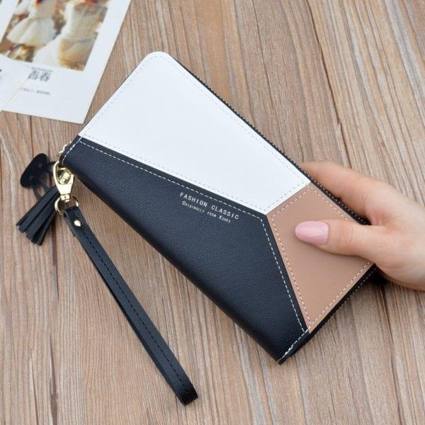 Geometric Women Wallets with Zipper Pink Phone Pocket Purse Card Holder Patchwork Women Long Wallet Lady 4