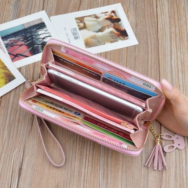 Geometric Women Wallets with Zipper Pink Phone Pocket Purse Card Holder Patchwork Women Long Wallet Lady 6