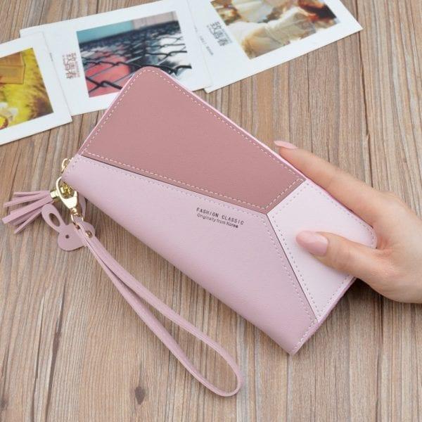 Geometric Women Wallets with Zipper Pink Phone Pocket Purse Card Holder Patchwork Women Long Wallet Lady