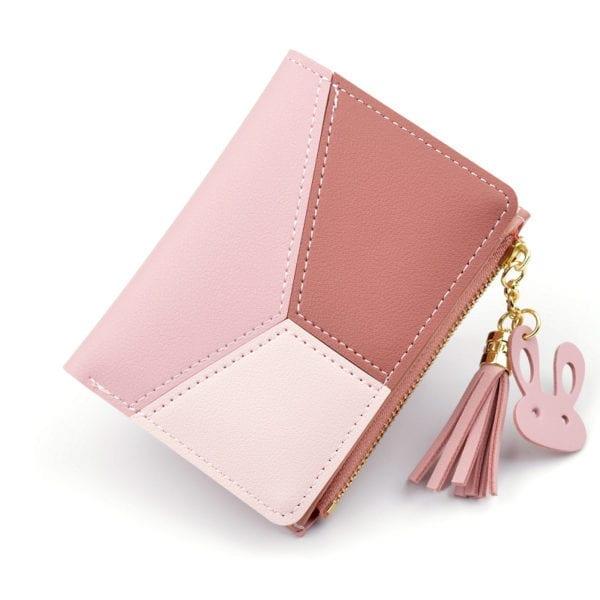 Geometric Women Wallets with Zipper Pink Phone Pocket Purse Card Holder Patchwork Women Long Wallet Lady 8