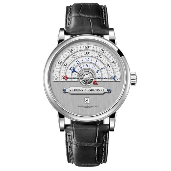 KAREBO Men Ultrathin Semi Circle Time Scale Mechanical Wristwatch With ETA2824 Automtatic Self Wind Movement Watch 1