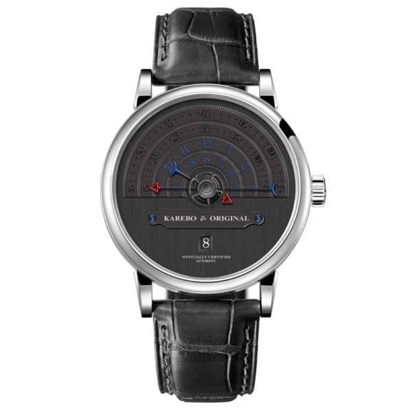 KAREBO Men Ultrathin Semi Circle Time Scale Mechanical Wristwatch With ETA2824 Automtatic Self Wind Movement Watch 2