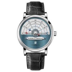 KAREBO Men Ultrathin Semi Circle Time Scale Mechanical Wristwatch With ETA2824 Automtatic Self Wind Movement Watch