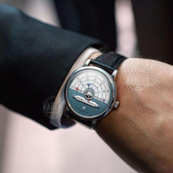 KAREBO Men Ultrathin Semi Circle Time Scale Mechanical Wristwatch With ETA2824 Automtatic Self Wind Movement Watch 4