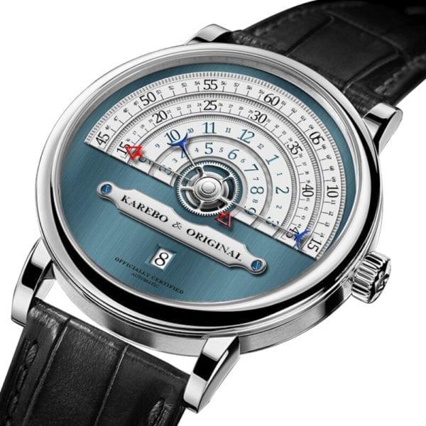 KAREBO Men Ultrathin Semi Circle Time Scale Mechanical Wristwatch With ETA2824 Automtatic Self Wind Movement Watch 5