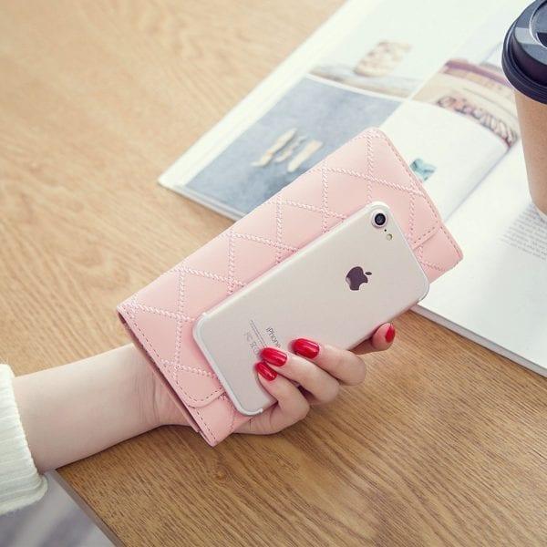 Luxury Brand Women Wallets Long Zipper Coin Purses Fashion Hasp Thread Wallet Design Clutch Female Money 1