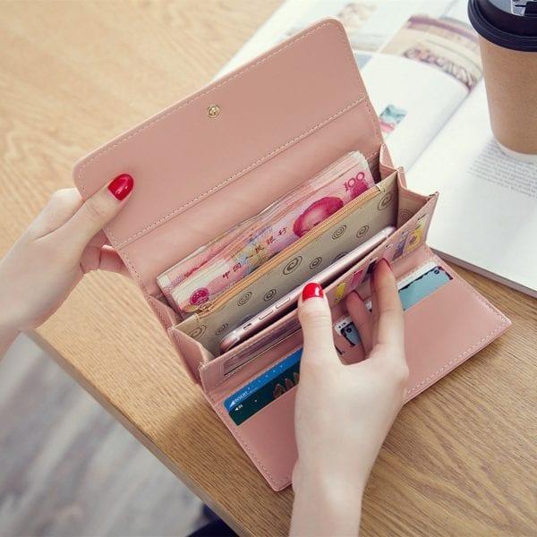 Luxury Brand Women Wallets Long Zipper Coin Purses Fashion Hasp Thread Wallet Design Clutch Female Money 4