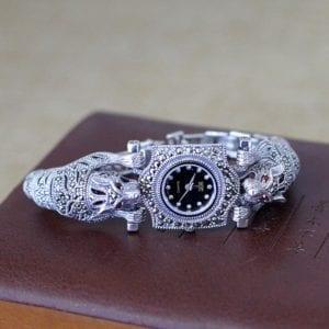 New Arrival Limited Cheetah Watch Classic Fine Jewelry S925 Silver Pure Thai Silver Leopard Rhinestone Bracele