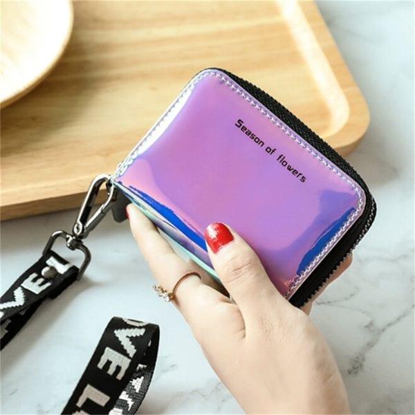 New Fashion Standard Zipper Wallets Designer Variable Color Card Holder Purse Women Short Wallet Clutch Laser 1