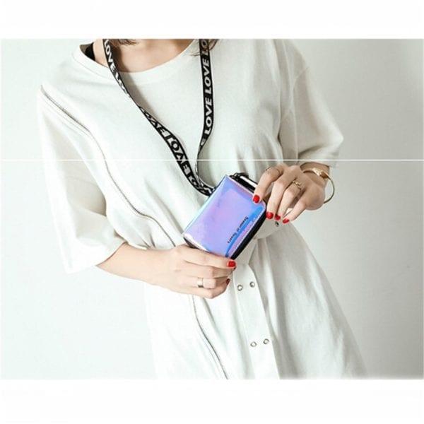 New Fashion Standard Zipper Wallets Designer Variable Color Card Holder Purse Women Short Wallet Clutch Laser 2