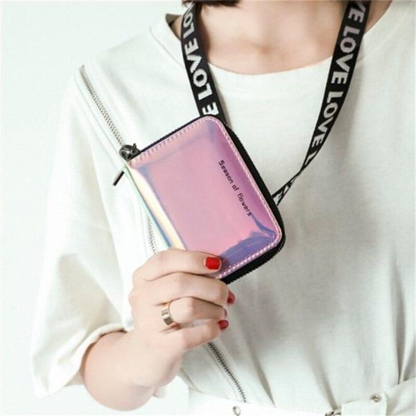 New Fashion Standard Zipper Wallets Designer Variable Color Card Holder Purse Women Short Wallet Clutch Laser 3