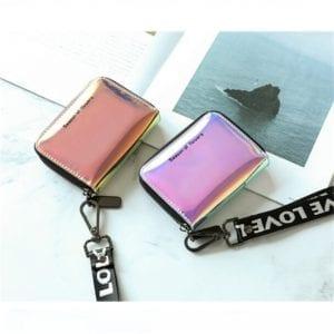 New Fashion Standard Zipper Wallets Designer Variable Color Card Holder Purse Women Short Wallet Clutch Laser