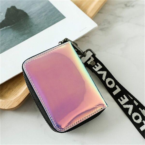 New Fashion Standard Zipper Wallets Designer Variable Color Card Holder Purse Women Short Wallet Clutch Laser 4
