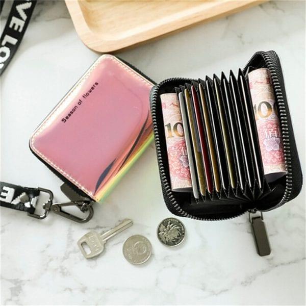 New Fashion Standard Zipper Wallets Designer Variable Color Card Holder Purse Women Short Wallet Clutch Laser 5